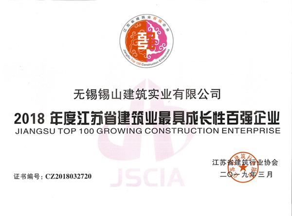 2018年度江苏省建筑业最具成长性百强企业